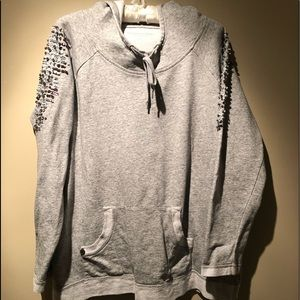 Soft Surroundings Gray Shine On Sequin Hoodie LG